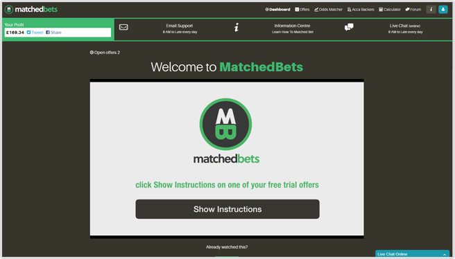 MatchedBets Dashboard