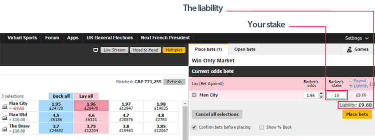 how to place a lay bet on betfair