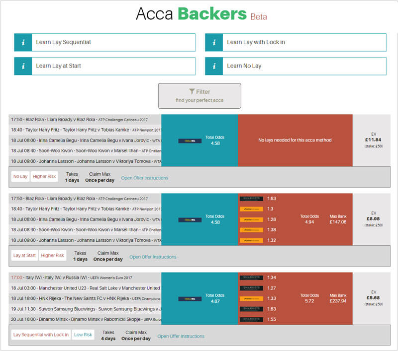 AccaBackers accumulator insurance matched betting tool