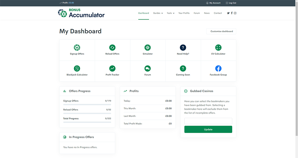 bonus accumulator dashboard