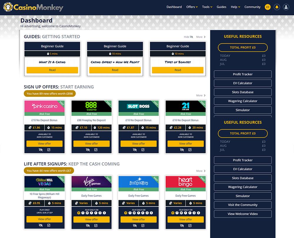 casinomonkey dashboard
