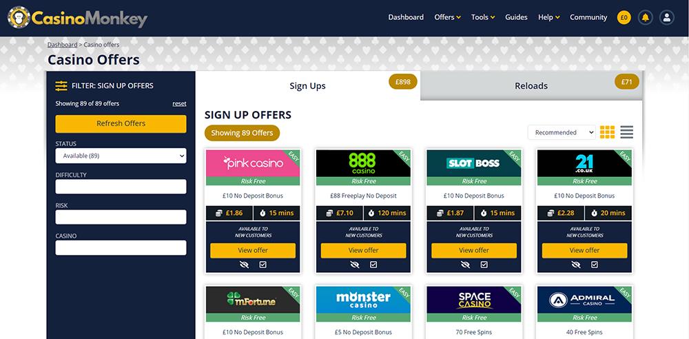 casinomonkey sign up offers